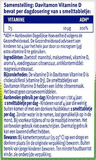 Davitamon Vitamine D Kinderen Smelttabletten Ingredienten