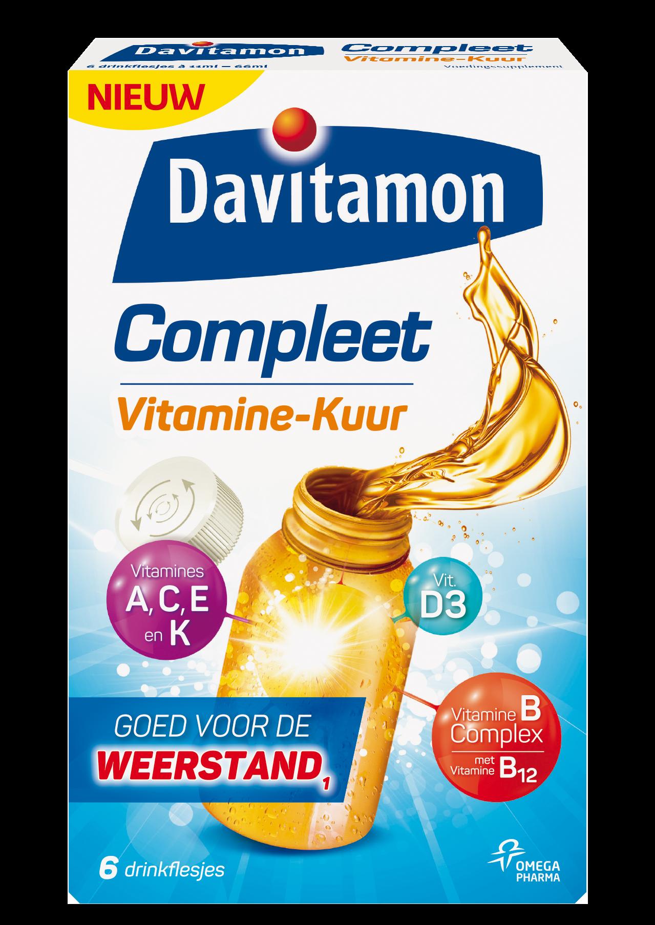 Davitamon Compleet Vitamine Kuur Drinkflesjes Verpakking