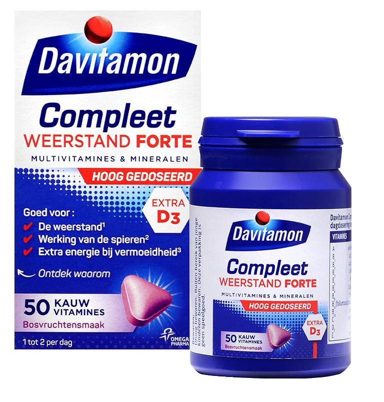 Davitamon Compleet Weerstand Forte Kauwvitamines Verpakking totaal