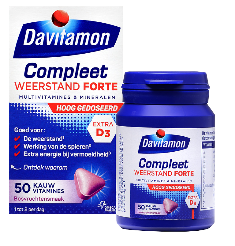 Davitamon Compleet Weerstand Forte – 50 kauwvitamines