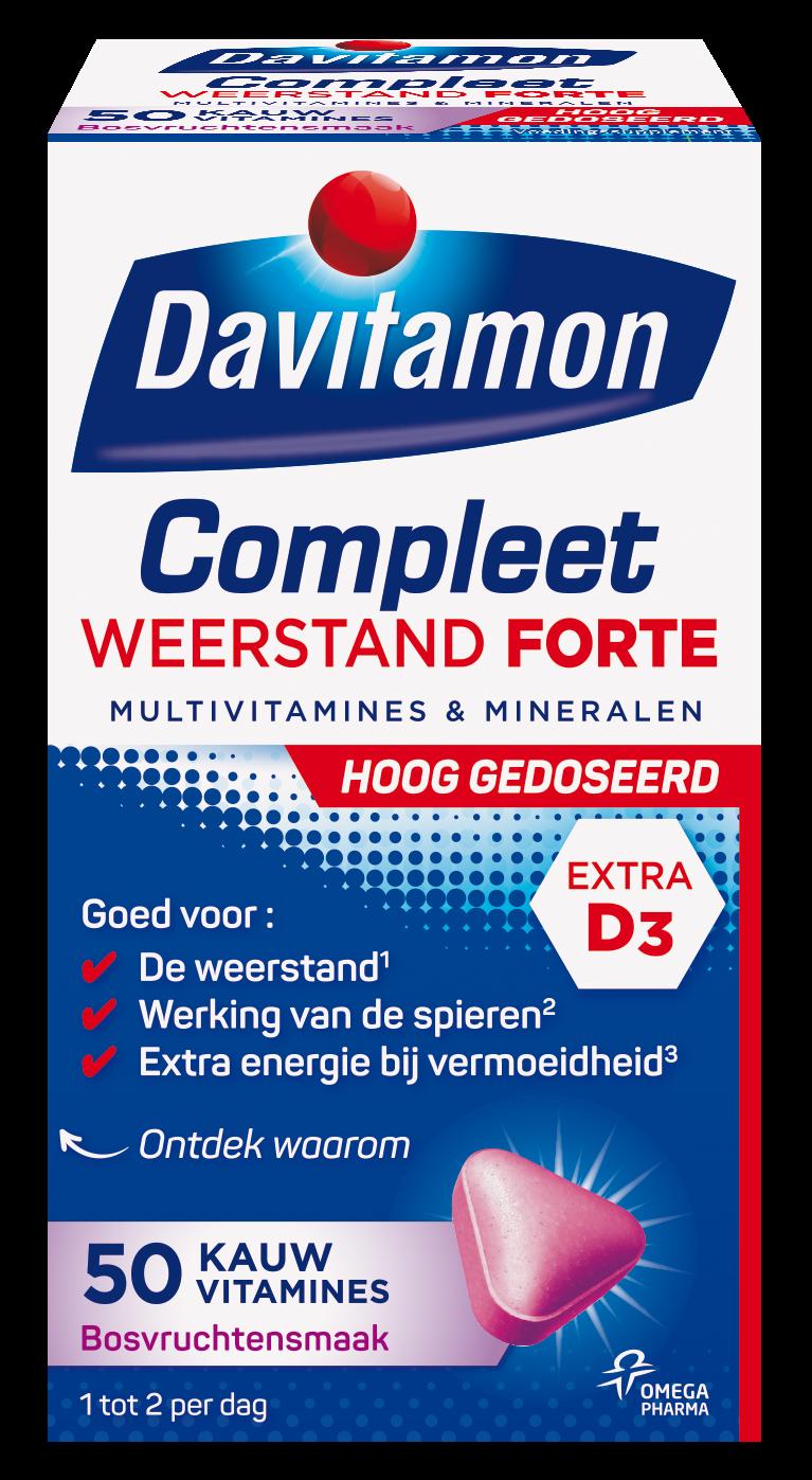Davitamon Compleet Weerstand Forte Kauwvitamines Verpakking