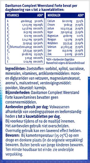 Davitamon Compleet Weerstand Forte Kauwvitamines Ingredienten