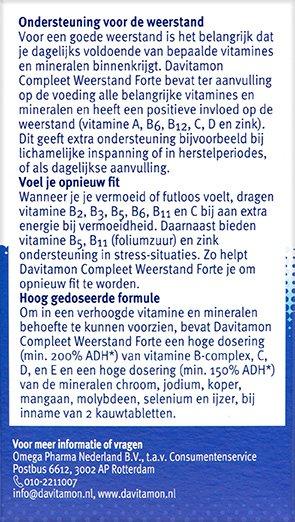 Davitamon Compleet Weerstand Forte Kauwvitamines Beschrijving