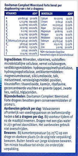 Davitamon Compleet Weerstand Forte Ingredienten