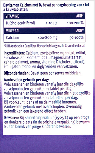 Davitamon Calcium Vitamine D Tabletten Ingredienten