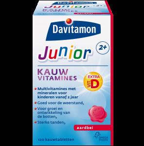 Davitamon Junior 2+ Aardbei Kauwvitamines Verpakking totaal