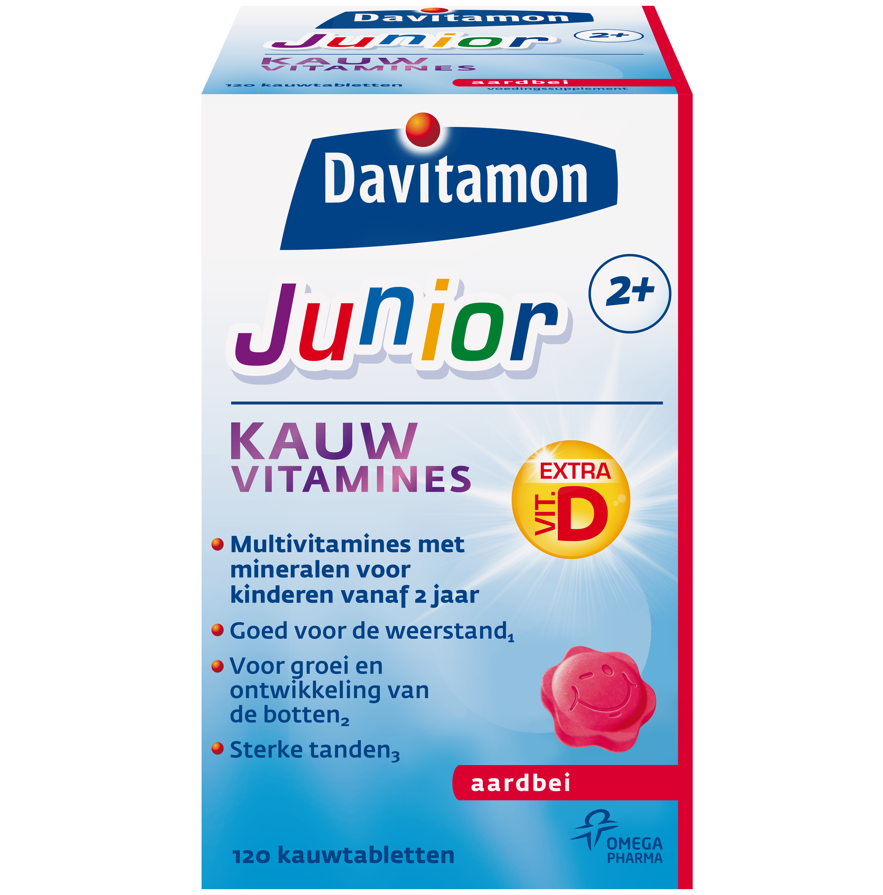 Davitamon Junior 2+ Aardbei &#8211; <br>120 kauwvitamines