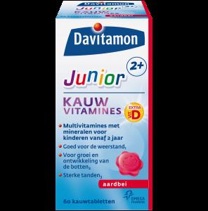 Davitamon Junior 2+ Aardbei Kauwvitamines Verpakking
