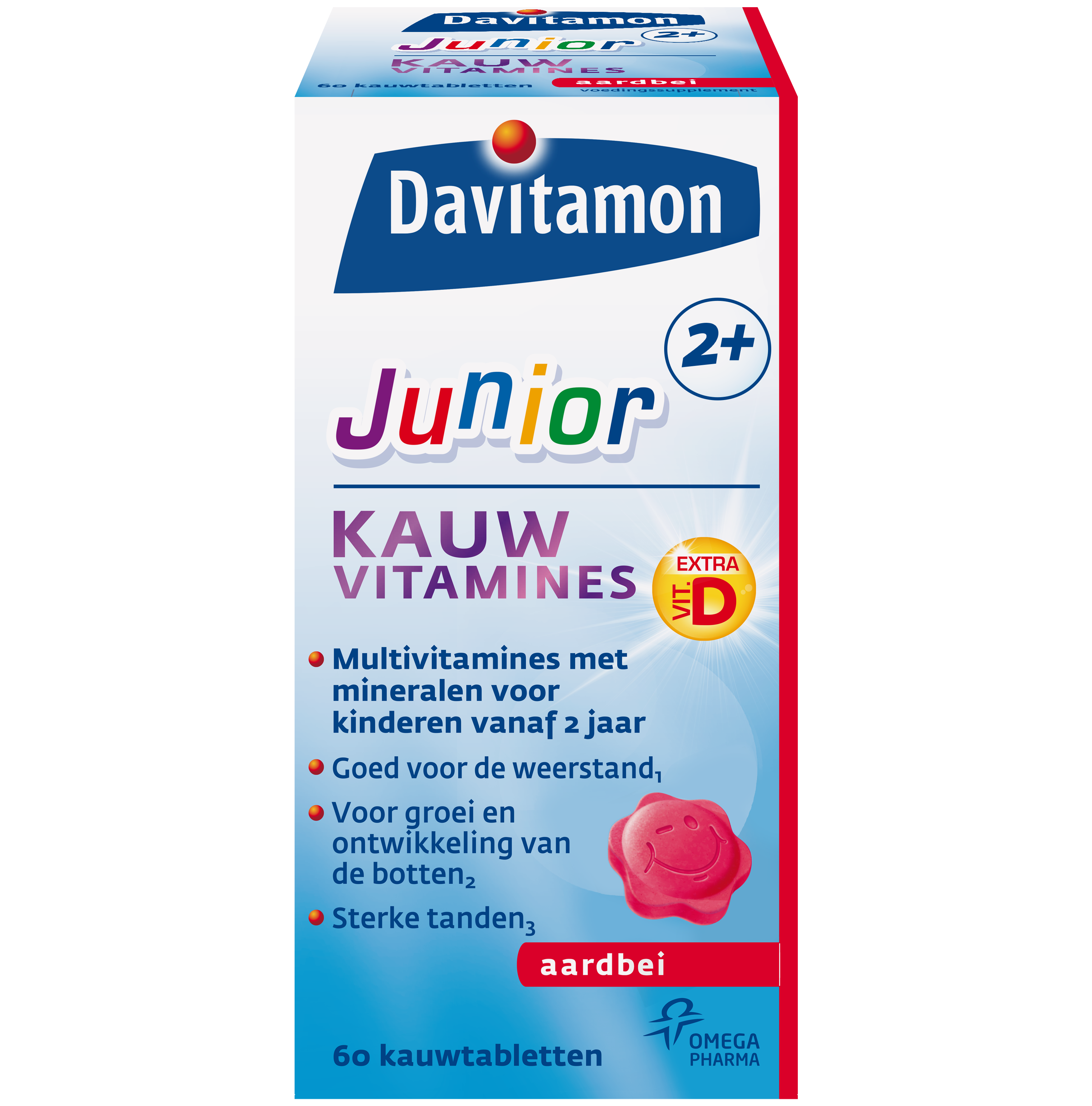 Davitamon Junior 2+ Aardbei &#8211; <br>60 kauwvitamines