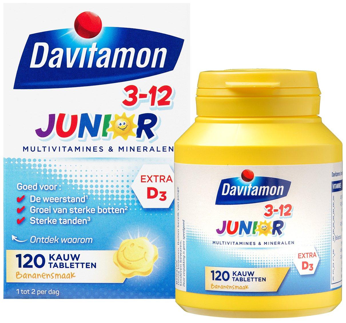 Davitamon Junior Banaan Kauwtabletten Verpakking totaal