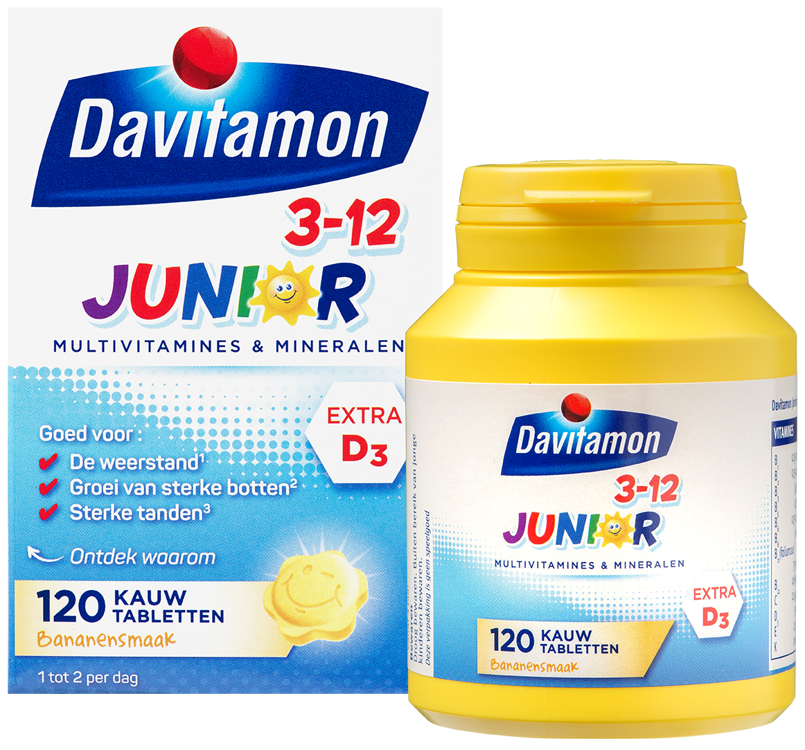 Davitamon Junior Banaan Kauwtabletten Verpakking totaal 2
