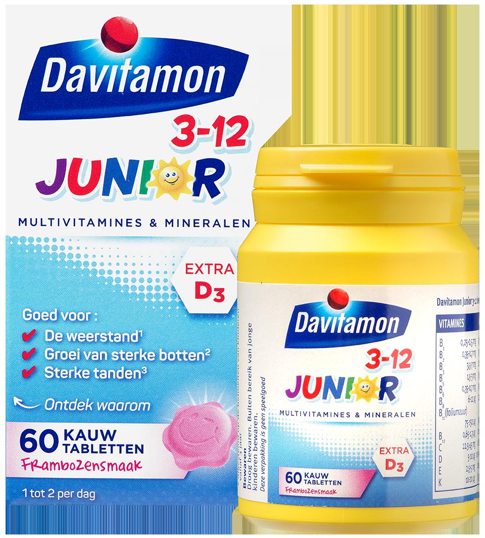 Davitamon Junior framboos Kauwtabletten Verpakking totaal