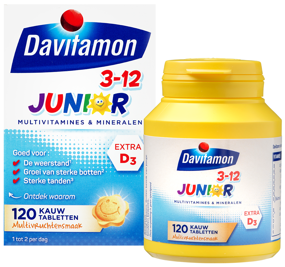 Davitamon Junior 3-12 Multifruit – 120 kauwtabletten