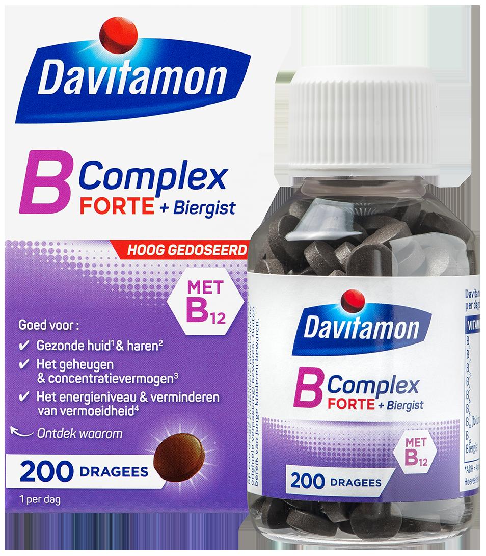 Davitamon B Complex Forte 200 dragees verpakking totaal