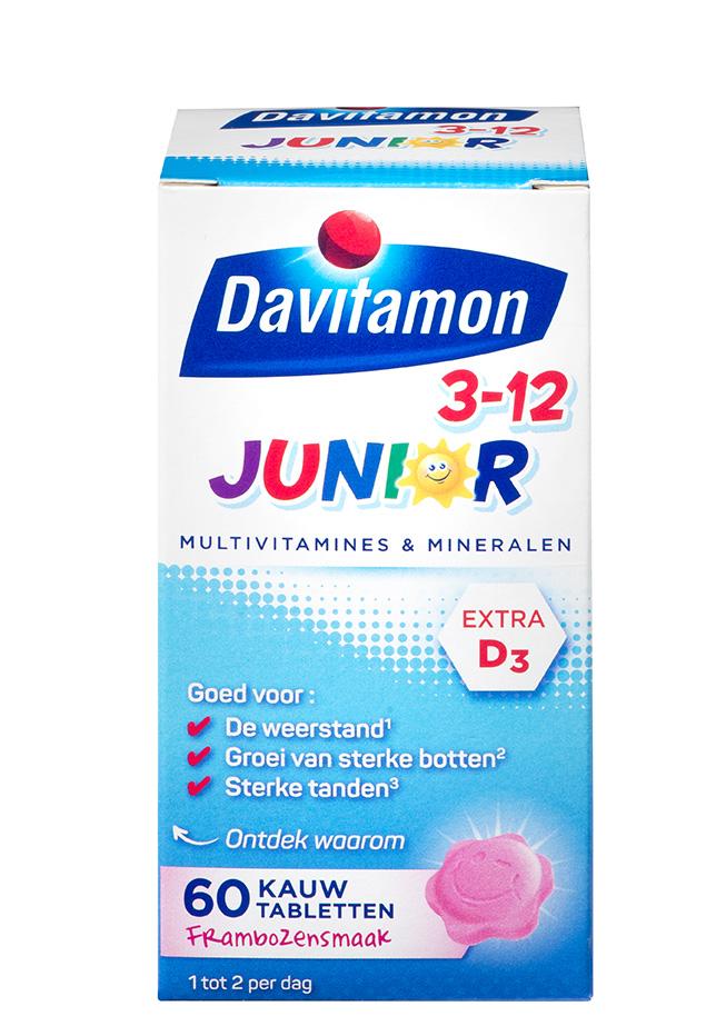 Davitamon Junior framboos Kauwtabletten Verpakking