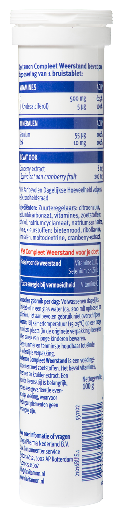 Davitamon Compleet Weerstand Bruistabletten Ingredienten