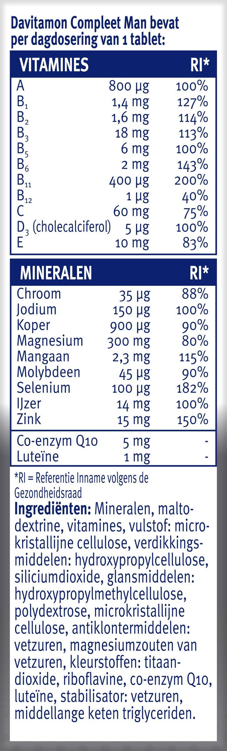 Davitamon Compleet Man Tabletten Dosering