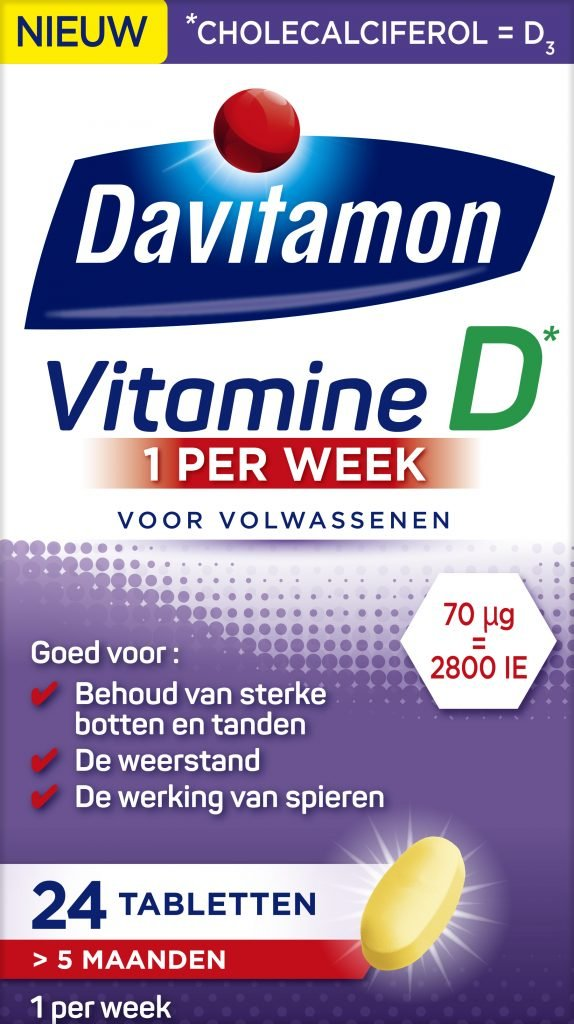 Davitamon Vitamine D week tabletten verpakking