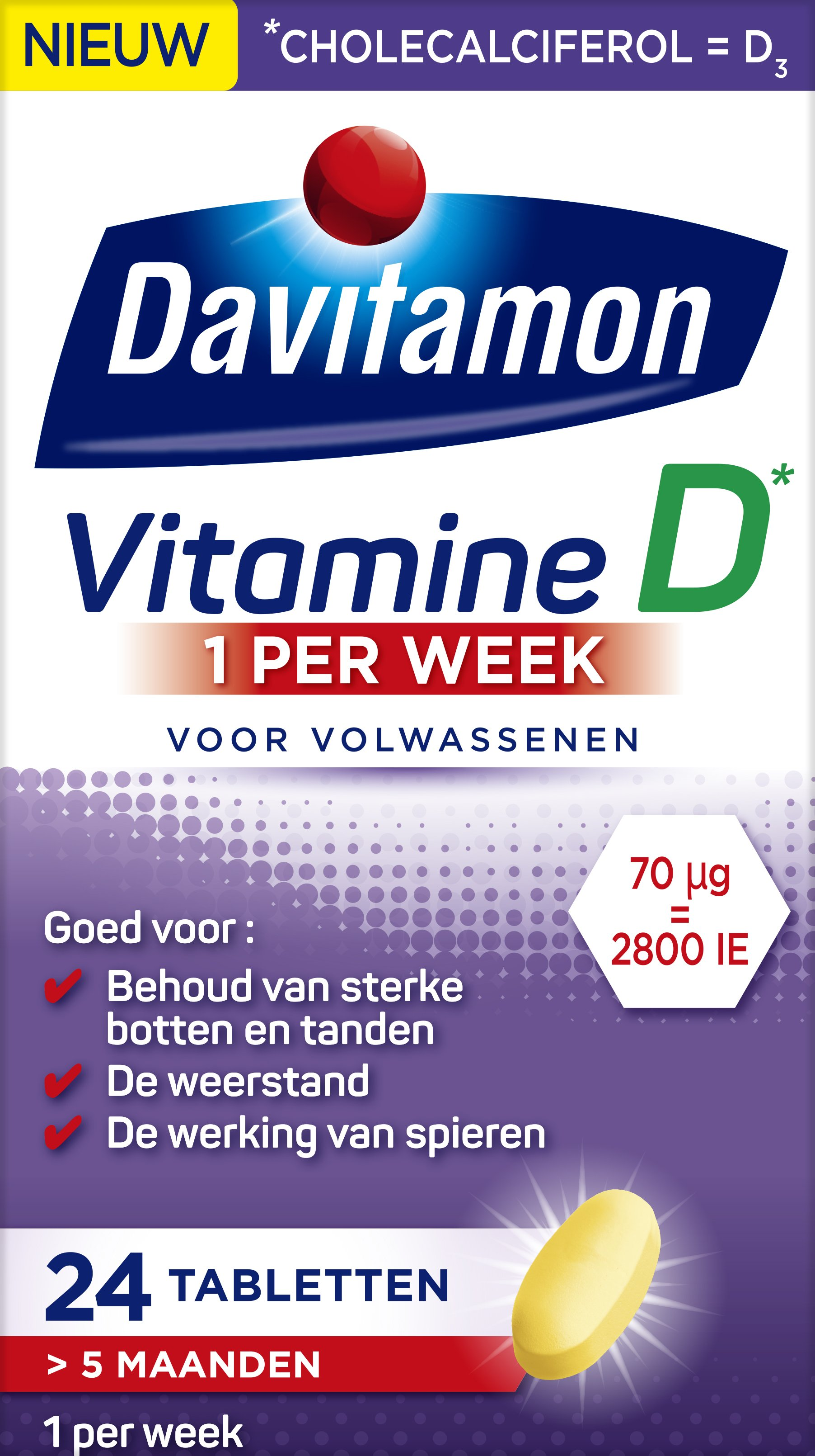 Davitamon Vitamine D week tabletten verpakking