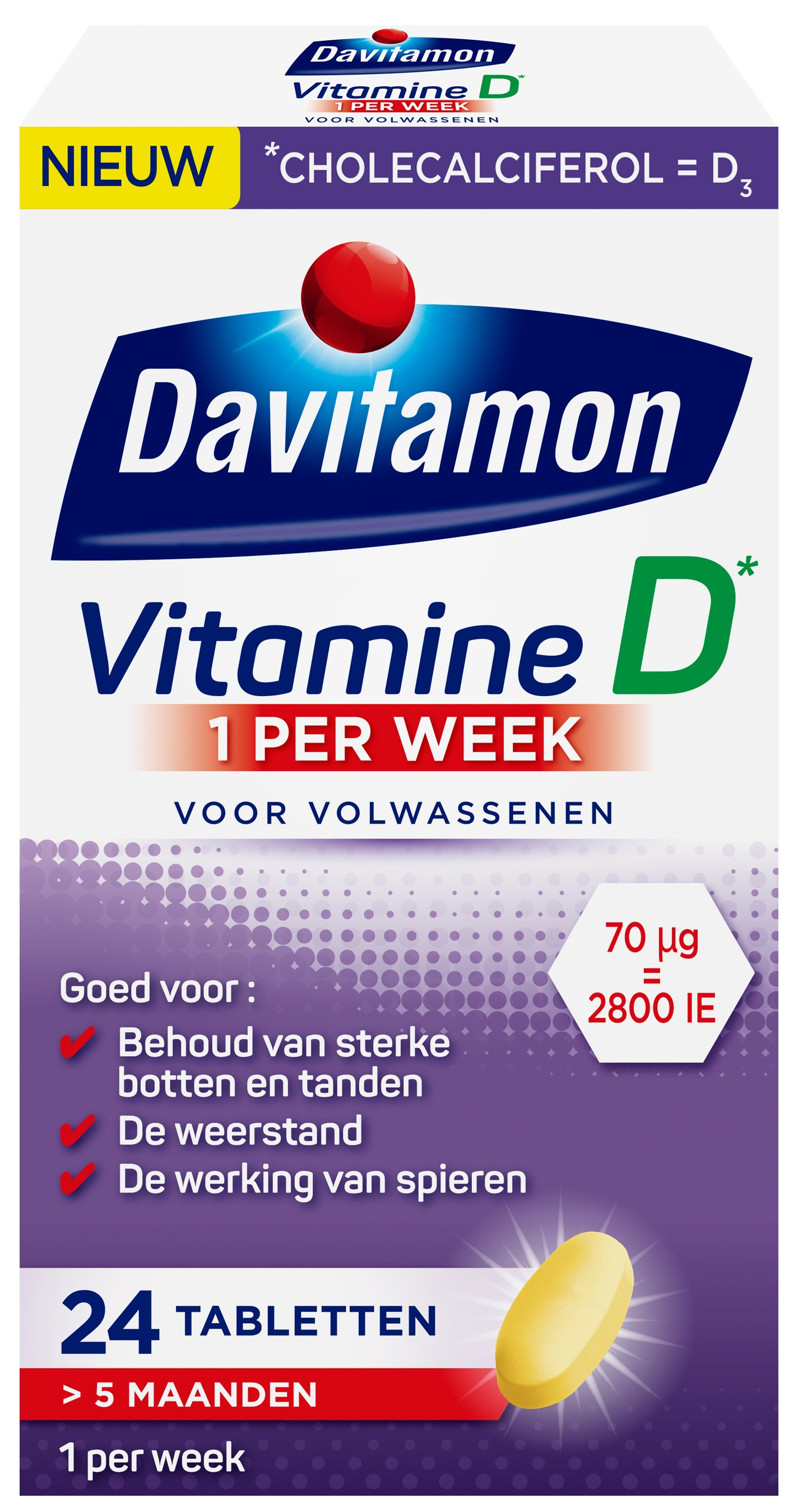Davitamon Vitamine D week tabletten verpakking 3d