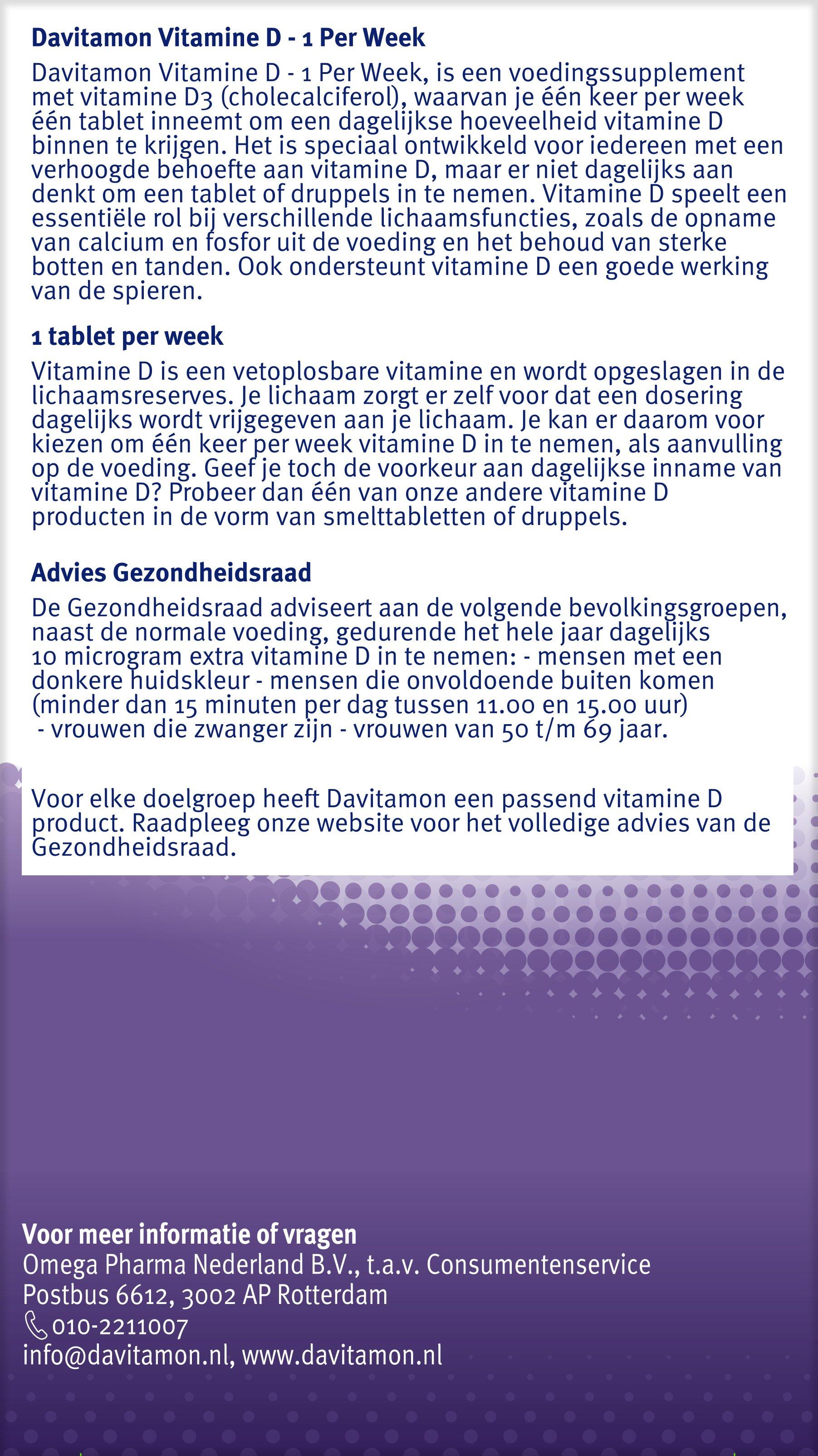 Davitamon Vitamine D week tabletten Gezondheidsraad