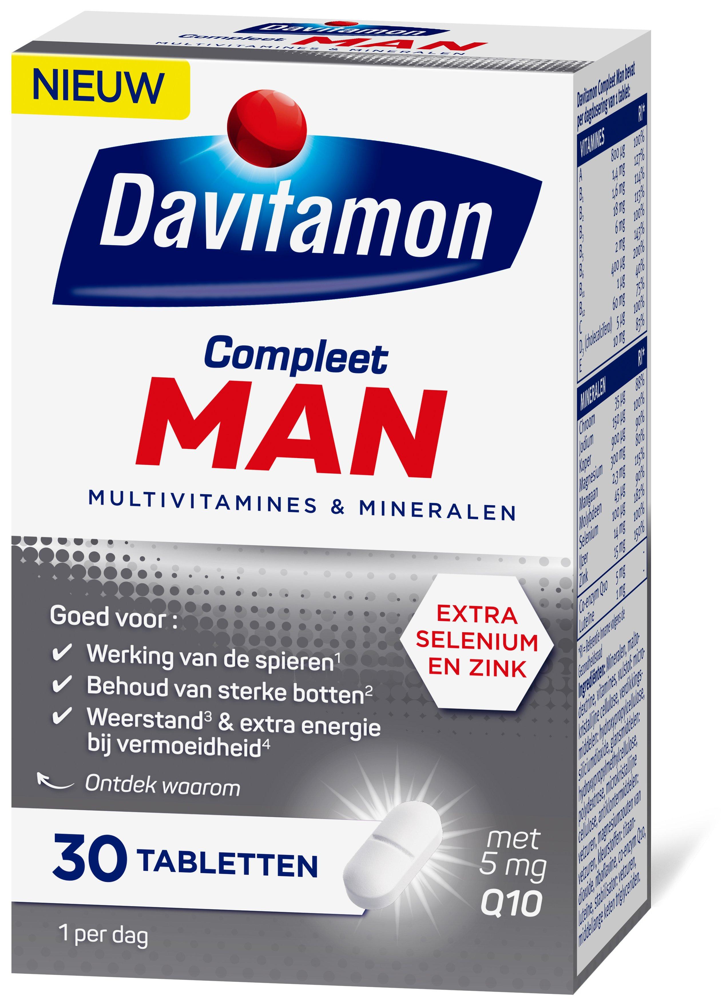 Davitamon Compleet Man Tabletten Verpakking zijkant