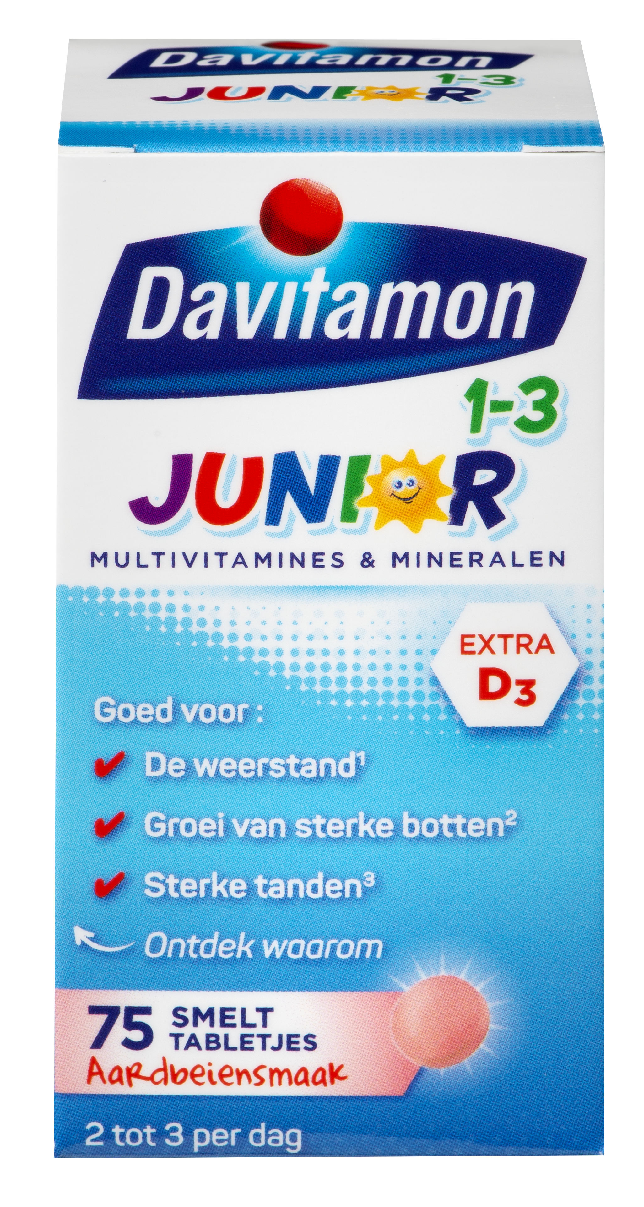 Junior 1-3 75 smelttabletjes aardbeiensmaak