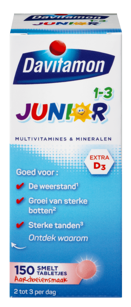 Junior 1-3 150 smelttabletjes aardbeiensmaak