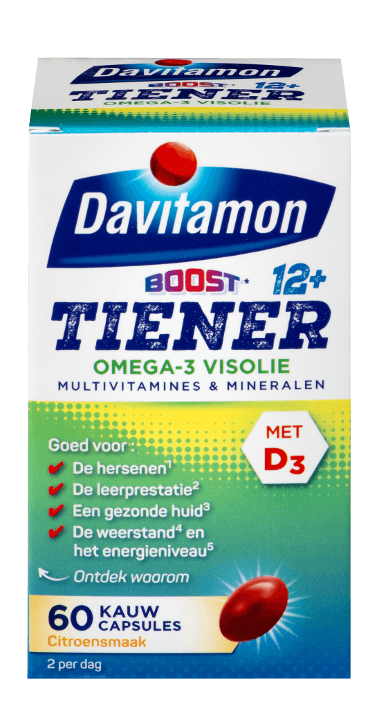 Davitamon Multi Boost 12+ Omega-3 Visolie – 60 kauwcapsules