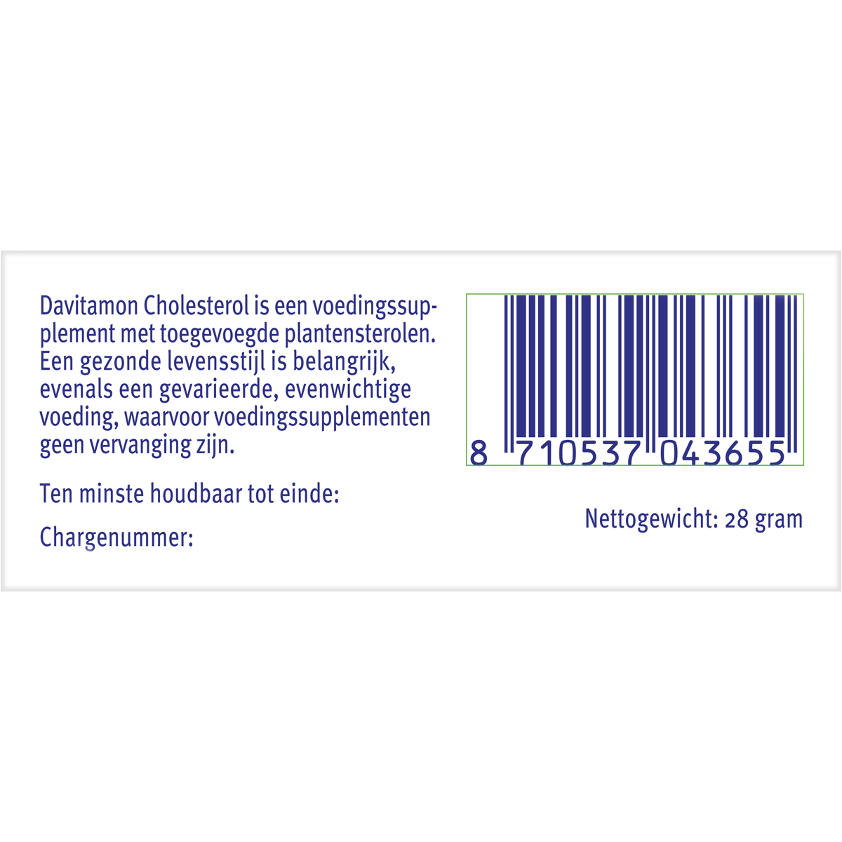 Barcode Davitamon Cholesterol voor volwassenen